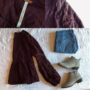 Free People Plum and Gold Peplum Top